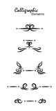 Calligraphic elements. Artistic calligraphic elements, vector illustration Stock Images