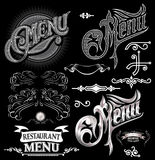Calligraphic elements for design label menu Stock Photography