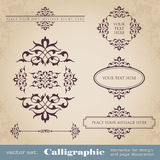Calligraphic elements for design and page decoration - vector set Royalty Free Stock Image