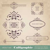 Calligraphic elements for design and page decoration - vector set Stock Images