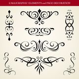 Calligraphic elements and page decoration Stock Photography