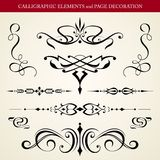 Calligraphic elements and page decoration Stock Images