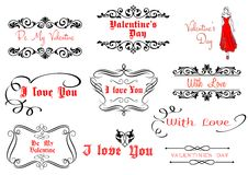Calligraphic elements for Valentine's Day design Stock Images