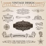 Calligraphic elements vintage Congratulation ribbon. Frame Royalty Free Stock Image