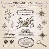 Calligraphic elements vintage decor. Vector frame