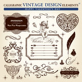 Calligraphic elements vintage ornament set