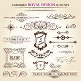 Calligraphic elements vintage retro. Calligraphic elements vintage set. Hand retro written feather Stock Image