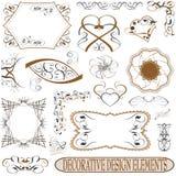 Calligraphic elements vintage set. retro vector. Calligraphic elements vintage set. retro feather Royalty Free Stock Images