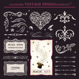 Calligraphic elements vintage vector set. holiday Stock Image