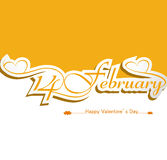 Calligraphic 14 february headline happy valentines. Day text colorful card Royalty Free Stock Images