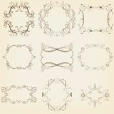 Calligraphic and floral frames set. Vector illustration Stock Photography