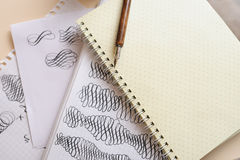 Calligraphic flourish and pen Royalty Free Stock Images