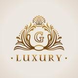 Calligraphic flourishes Luxury Logo template elegant ornament. Business sign, monogram, emblem for Hotel, restaurant, Royalty boutique cafe, heraldic, Jewelry Stock Images