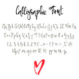 Calligraphic font with numbers, ampersand and symbols. Royalty Free Stock Photo