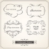 Calligraphic frame and page decoration set. Royalty Free Stock Photos