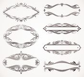 Calligraphic frames. Calligraphic and ornate framed labels Royalty Free Stock Photography