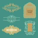 Calligraphic Frames and borders. Sets of vintage calligraphy frames Stock Illustration