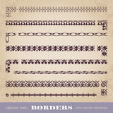 Calligraphic frames and borders with corner elements - vector set Royalty Free Stock Photo