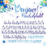Calligraphic french alphabet with decorations Stock Photo
