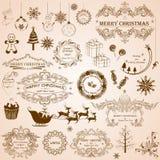 Calligraphic garnering för jul stock illustrationer