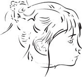 Calligraphic girl portrait. Portrait of little girl from profile view using a calligraphic brush Royalty Free Stock Images