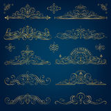 Calligraphic Golden Frames Royalty Free Stock Photography