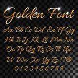 Calligraphic golden letters. Vintage elegant gold font.. Luxury  script. Golden alphabet calligraphic, calligraphy abc gold script illustration for your web Royalty Free Stock Photo