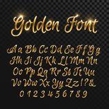 Calligraphic golden letters. Vintage elegant gold font. Luxury vector script Stock Photo