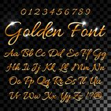 Calligraphic golden letters. Vintage elegant gold font. Luxury vector script. Golden alphabet calligraphic, calligraphy. Abc gold script illustration for your stock illustration