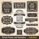Calligraphic gränsa inramar och inbjudan Arkivbild