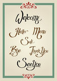 Calligraphic Greeting Sign Royalty Free Stock Photography