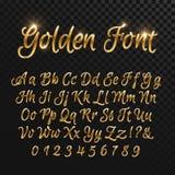 Calligraphic guld- bokstäver Elegant guld- stilsort för tappning Lyxig vektorskrift royaltyfri illustrationer