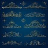 Calligraphic guld- ramar Royaltyfri Fotografi
