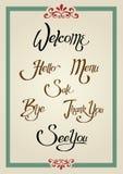 calligraphic hälsningstecken Royaltyfri Fotografi