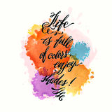 Calligraphic hand drawn watercolor lettering vector poster. Stock Image