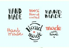 Calligraphic hand made label set. Vector illustrated. Logo for handmade crafts collection Stock Images