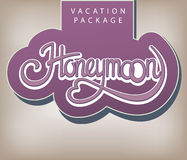 Vacation package Honeymoon. Calligraphic handwritten label Vacation package Honeymoon vintage style Stock Photo