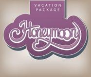 Vacation package Honeymoon. Calligraphic handwritten label Vacation package Honeymoon vintage style vector illustration