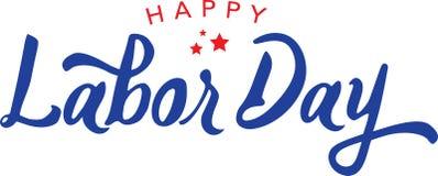 Calligraphic Happy Labor Day Vector Typography. Calligraphic Happy Labor Day Blue Vector Typography Stock Photos