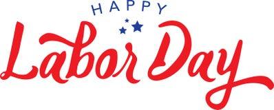 Calligraphic Happy Labor Day Vector Typography. Calligraphic Happy Labor Day Red Vector Typography Stock Image