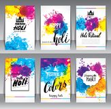 Calligraphic header and banner set. Happy holi beautiful Indian festival colorful collection design. Vector illustration Royalty Free Stock Photography