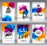 Calligraphic header and banner set. Happy holi beautiful Indian festival colorful collection design. Vector illustration Royalty Free Stock Images