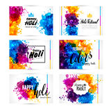 Calligraphic header and banner set. Happy holi beautiful Indian festival colorful collection design. Vector illustration Royalty Free Stock Photo