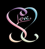 Calligraphic heart embossed in gradient pastels Royalty Free Stock Photo