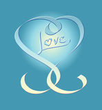 Calligraphic heart embossed in gradient pastels Royalty Free Stock Images