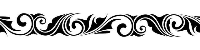 Calligraphic horizontal seamless vignette. Vector illustration. Royalty Free Stock Image