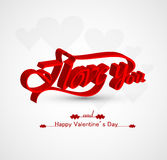 Calligraphic I Love You and Valentines day with te Royalty Free Stock Images