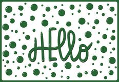Calligraphic inscription Hello. On background with bubbles stock illustration