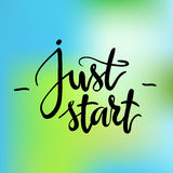 Calligraphic inscription. Just start. Hand drawn lettering. Stock Photo