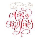 Calligraphic inscription Merry Christmas and a flourish with mittens. Vector illustration.  stock illustration
